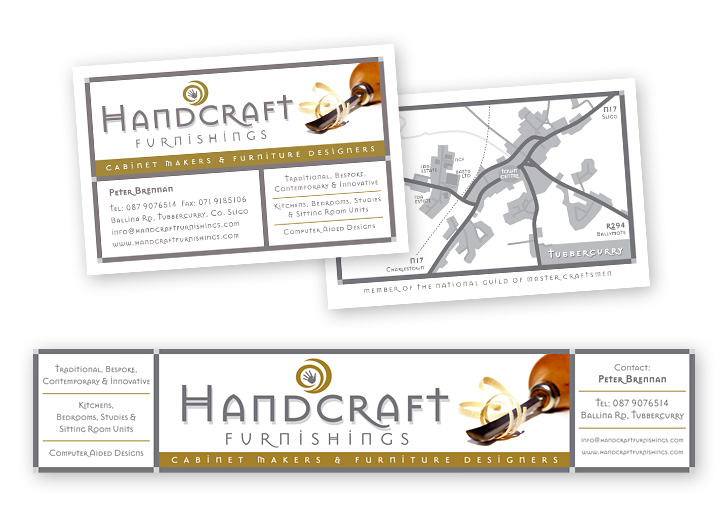 Handcraft Furnishings business card design and sign design
